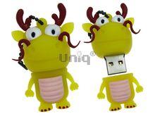 Флешка Uniq USB 2.0 ОЛЕНЬ с усами, желтый Резина 4GB (04C35127U2)