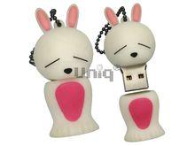 Флешка Uniq USB 2.0 ЗАЙКА спящая белая Резина 4GB (04C35133U2)