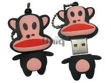 Флешка Uniq USB 2.0 ОБЕЗЬЯНКА большеротая, черно - красная Резина 4GB (04C35152U2)