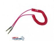 Кабель Megag Jack 3.5mm M (папа) - Jack 3.5mm M (папа) (3 пин) Shiny 2m  Витой кабель позолоченные коннекторы  Pink
