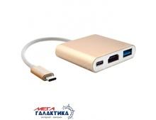 Megag Переходник  USB Type C - HDMI, USB, Type C для MacBook 12 inch 2015 Version, Google Chromebook Pixel 2015 Version, Nokia N1 Tablet PC       OEM Gold