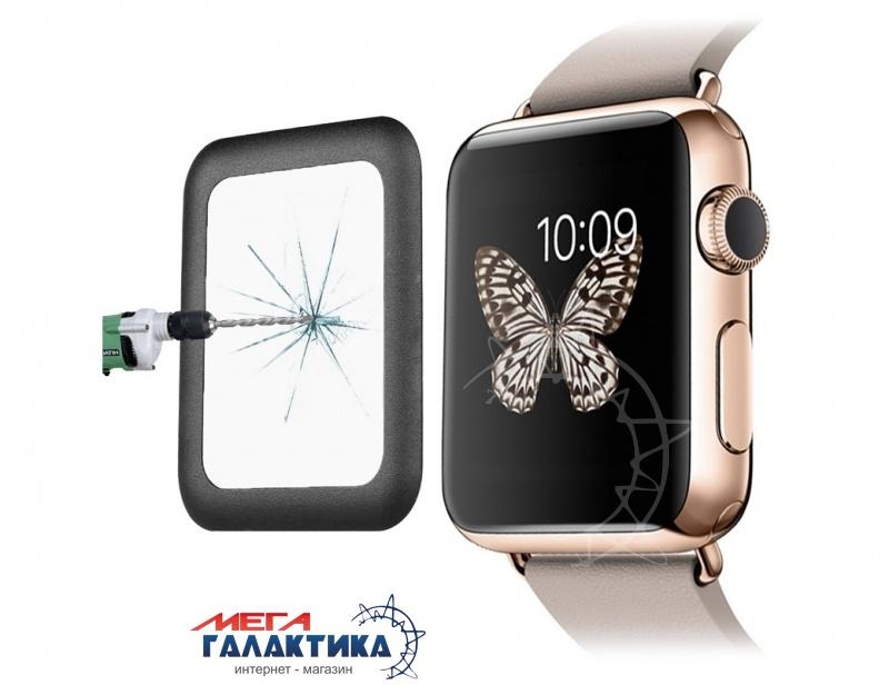 Стекло для Apple Watch 42mm 0.2mm 8-9H Surface Hardness Metal Full-covered (black) Фото товара №1