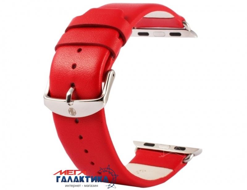Ремешок кожаный Apple Watch 38mm, Kakapi, Subtle Texture Classic Buckle, Red Фото товара №1