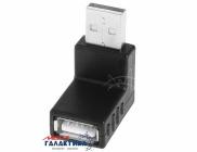 Переходник Megag USB AM (папа) - USB AF (мама) USB 2.0   Угловой 90°  Black OEM