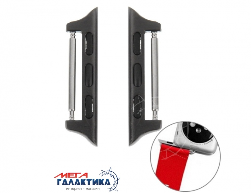 Комплект креплений для Apple Watch 38mm Metal Strap Connector Metal Buckle(Black) Фото товара №1