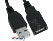 Удлинитель Megag USB AM (папа) - USB AF (мама) USB 2.0   0.9m Black OEM