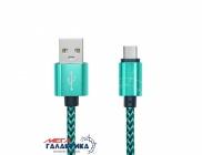 Кабель Woven Style  (В оплетке) USB AM - micro USB M, длина 0.23m   Green OEM