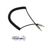 Кабель Megag Jack 3.5mm M (папа) - Jack 3.5mm M (папа) (3 пин) HQ 1.8m (0.35-1.8m) Витой кабель  Black