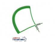 Кабель Megag Jack 3.5mm M (папа) - Jack 3.5mm M (папа) (3 пин) HQ 1.8m (0.35-1.8m) Витой кабель  Green