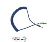 Кабель Megag Jack 3.5mm M (папа) - Jack 3.5mm M (папа) (3 пин) HQ 1.8m (0.35-1.8m) Витой кабель  Blue