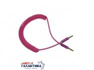 Кабель Megag Jack 3.5mm M (папа) - Jack 3.5mm M (папа) (3 пин) HQ узкий штекер 1.8m (0.35-1.8m) Витой кабель  Pink