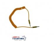 Кабель Megag Jack 3.5mm M (папа) - Jack 3.5mm M (папа) (3 пин) HQ узкий штекер 1.8m (0.35-1.8m) Витой кабель  Orange