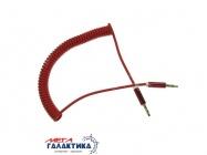 Кабель Megag Jack 3.5mm M (папа) - Jack 3.5mm M (папа) (3 пин) HQ узкий штекер 1.8m (0.35-1.8m) Витой кабель  Red