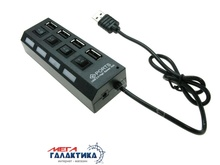 USB-хаб Megag High Speed ROHS 4xUSB USB 2.0 Black , кабель 0.3m