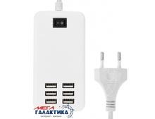 Зарядное устройство сетевое  Megag  Универсальное 6-Ports USB 30W  White Retail (5V, 1000mA, 5V, 2100mA, 5V, 2400mA, 6xUSB)