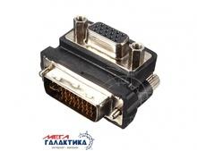 Переходник Megag DVI M (папа) - VGA F (мама)  (24+5 пин)  Угловой 90°  Black OEM