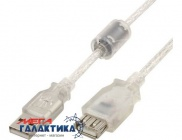 Удлинитель Cablexpert USB AM (папа) - USB AF (мама)   CCF-USB2-AMAF-TR-6 1 Феррит 1.8m White Transparent Retail