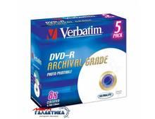 Диск DVD-R Verbatim Archival Grade Photo 4.7GB 8x Printable (печать на струйных принтерах) 43638