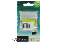 Аккумулятор Sony AA (+ 2 адаптера С) 2100 mAh 1.2V NiMh (Никель-металлгидрид) (NHAAB2KX2C)